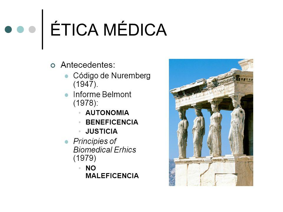 ÉTICA MÉDICA Antecedentes: Código de Nuremberg (1947).