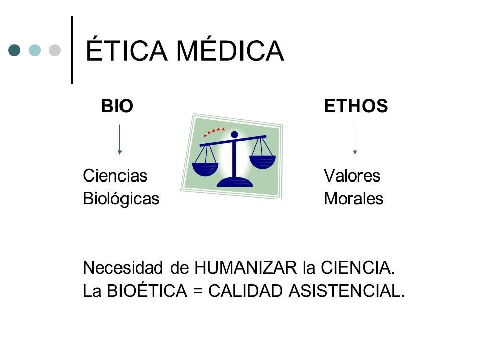 ÉTICA MÉDICA BIO ETHOS Ciencias Valores Biológicas Morales