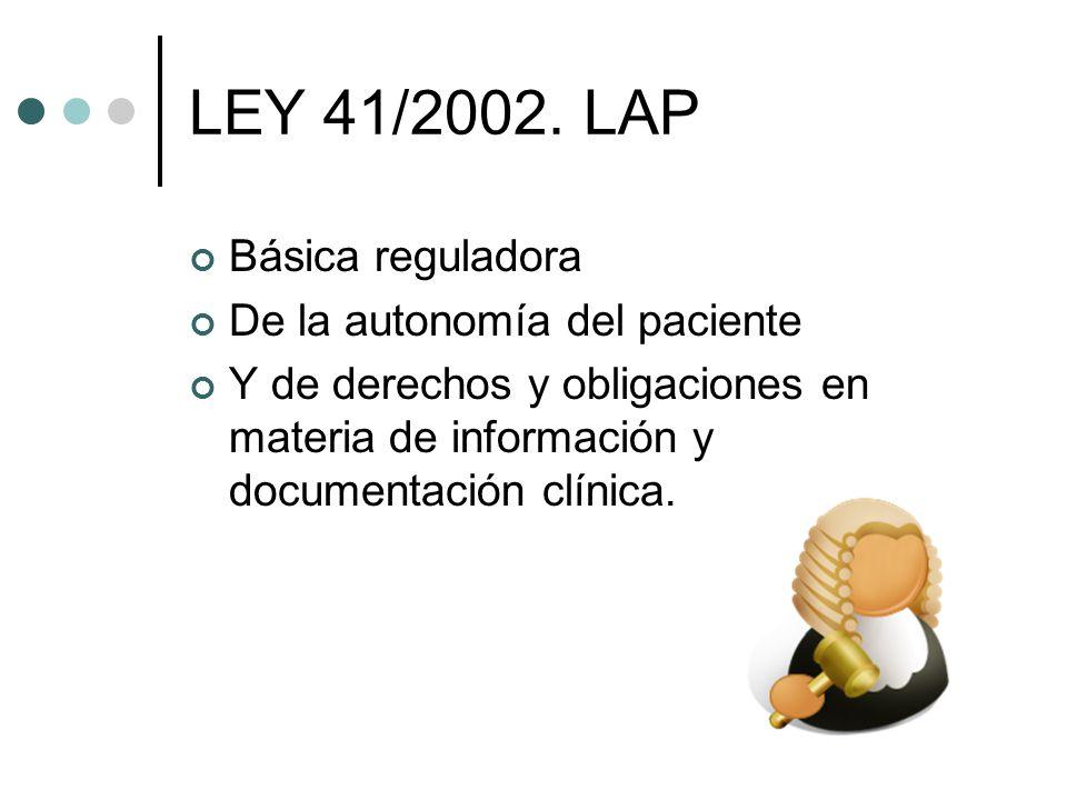 LEY 41/2002. LAP Básica reguladora De la autonomía del paciente