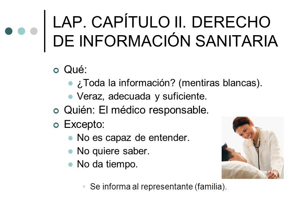 LAP. CAPÍTULO II. DERECHO DE INFORMACIÓN SANITARIA