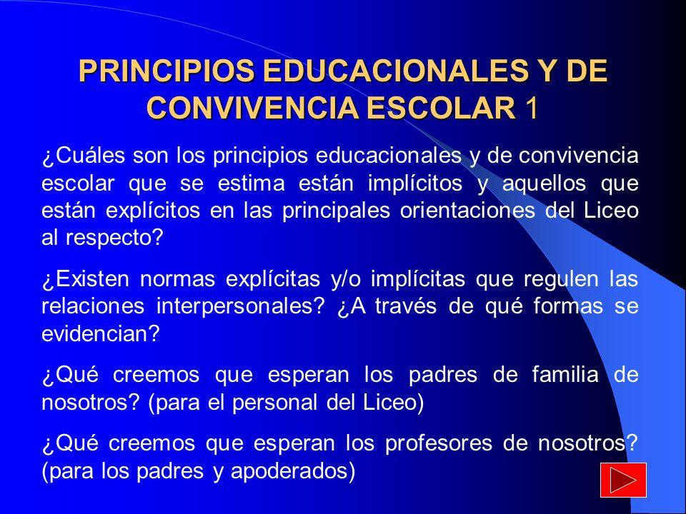 PRINCIPIOS EDUCACIONALES Y DE CONVIVENCIA ESCOLAR 1