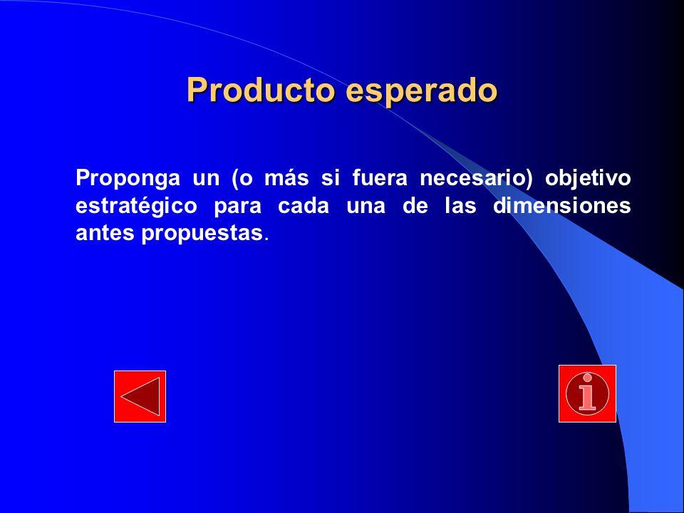Producto esperado Proponga un (o más si fuera necesario) objetivo estratégico para cada una de las dimensiones antes propuestas.