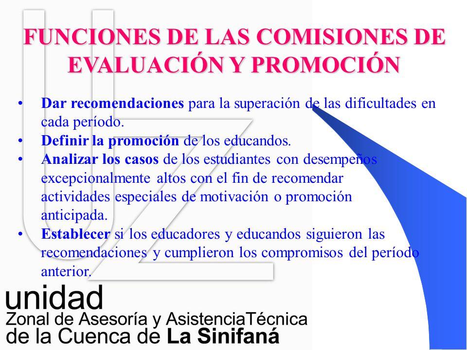 FUNCIONES DE LAS COMISIONES DE EVALUACIÓN Y PROMOCIÓN