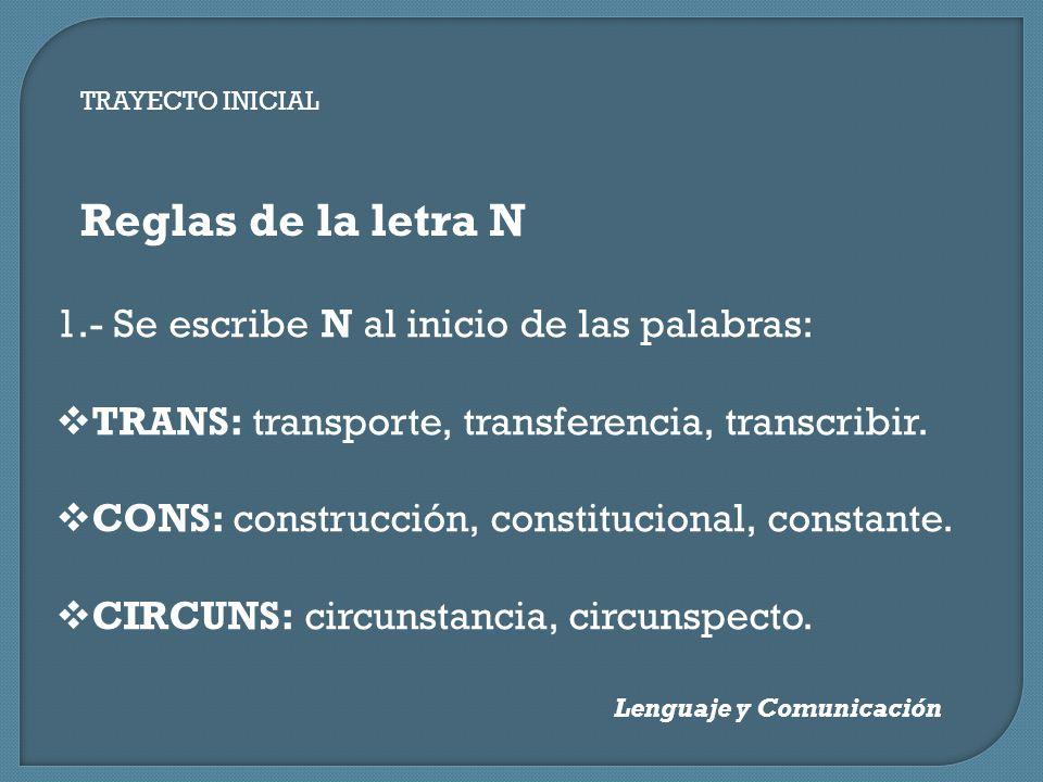 Reglas de la letra N 1.- Se escribe N al inicio de las palabras: