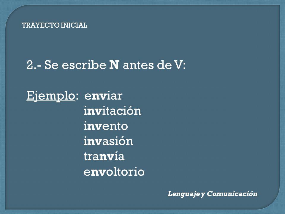 2.- Se escribe N antes de V: Ejemplo: enviar invitación invento