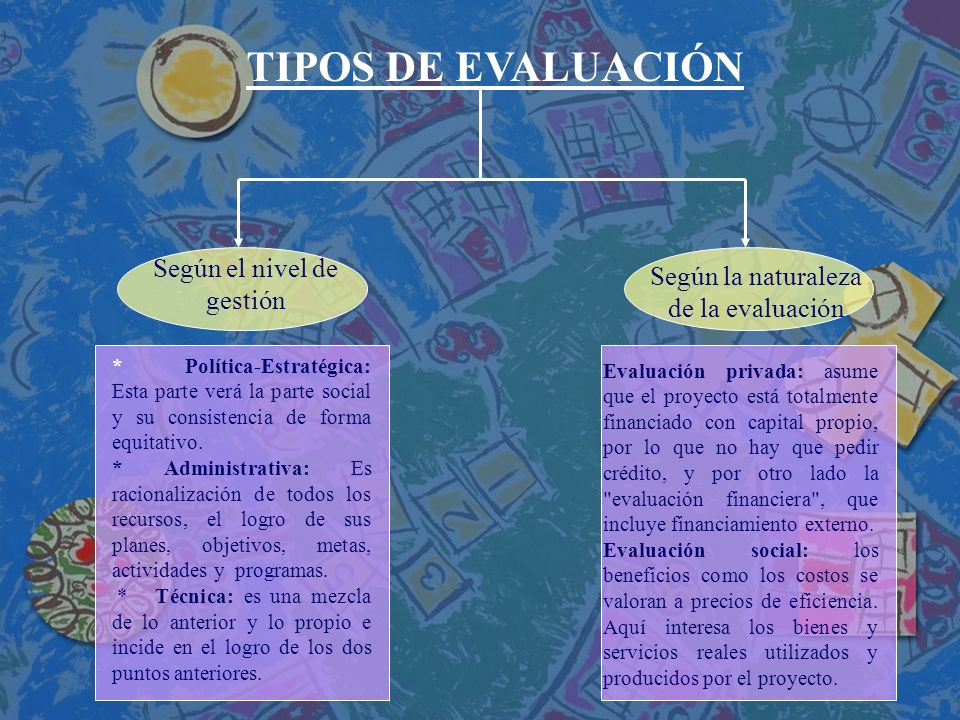 TIPOS DE EVALUACIÓN Según el nivel de gestión