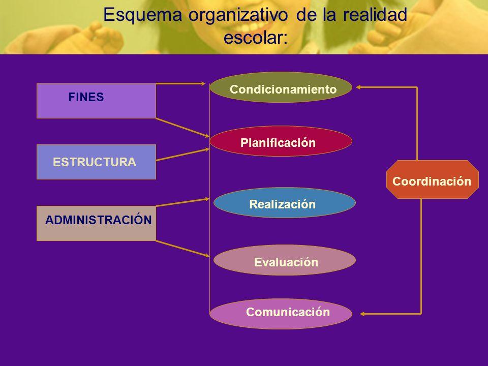 Esquema organizativo de la realidad escolar: