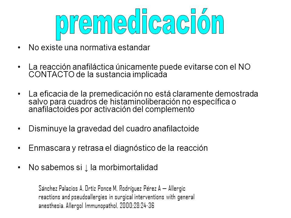 premedicación No existe una normativa estandar