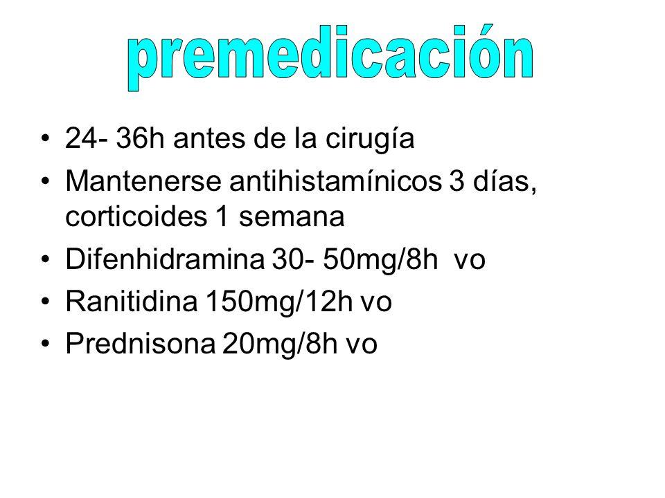 premedicación 24- 36h antes de la cirugía