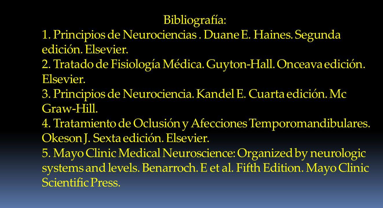 Bibliografía: 1. Principios de Neurociencias. Duane E. Haines