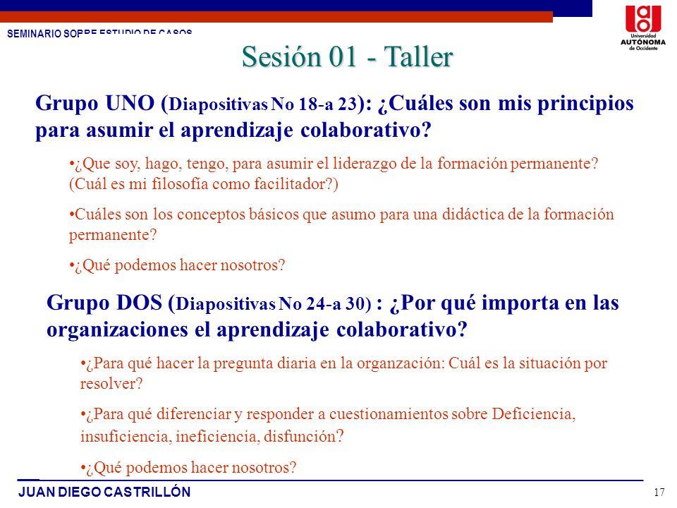 Sesión 01 - Taller Grupo UNO (Diapositivas No 18-a 23): ¿Cuáles son mis principios para asumir el aprendizaje colaborativo