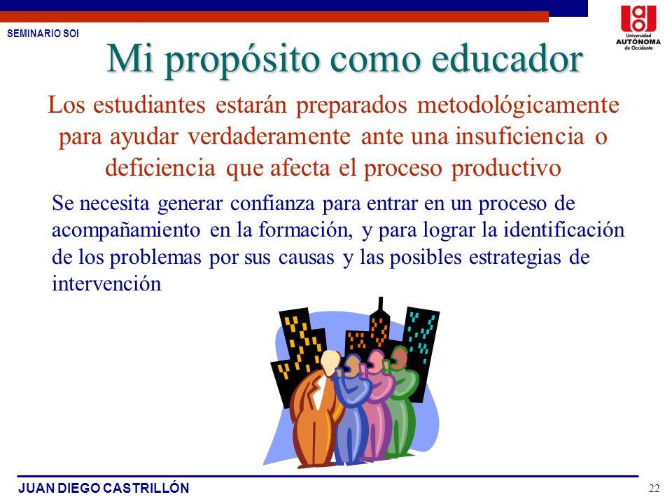 Mi propósito como educador