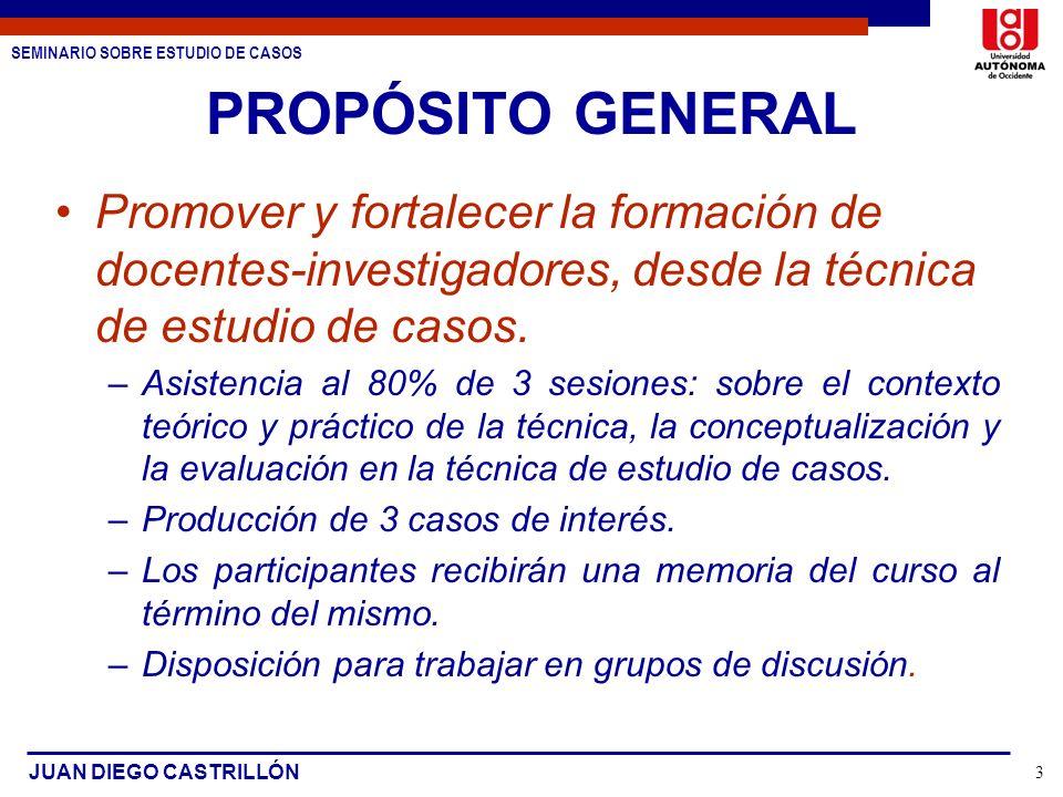 PROPÓSITO GENERALPromover y fortalecer la formación de docentes-investigadores, desde la técnica de estudio de casos.