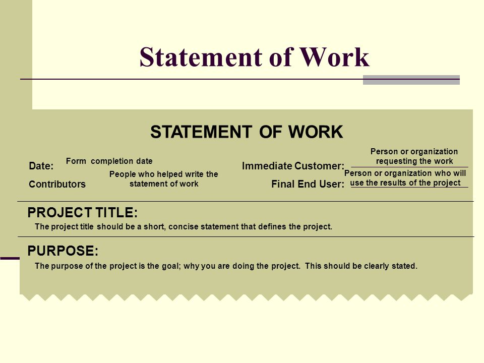 Statement of Work STATEMENT OF WORK PROJECT TITLE: PURPOSE: