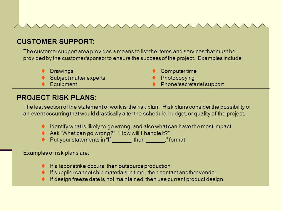 CUSTOMER SUPPORT: PROJECT RISK PLANS: