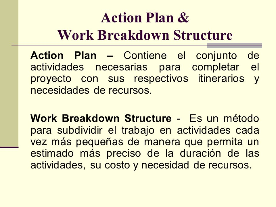 Action Plan & Work Breakdown Structure