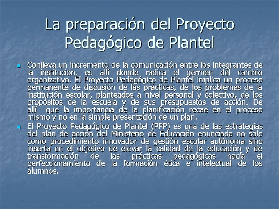 La preparación del Proyecto Pedagógico de Plantel