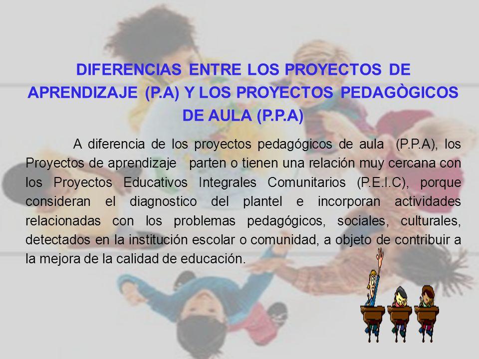 DIFERENCIAS ENTRE LOS PROYECTOS DE APRENDIZAJE (P