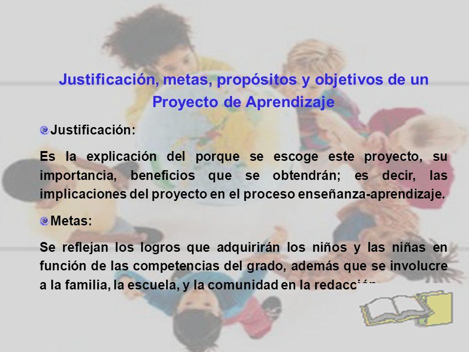 Justificación, metas, propósitos y objetivos de un Proyecto de Aprendizaje