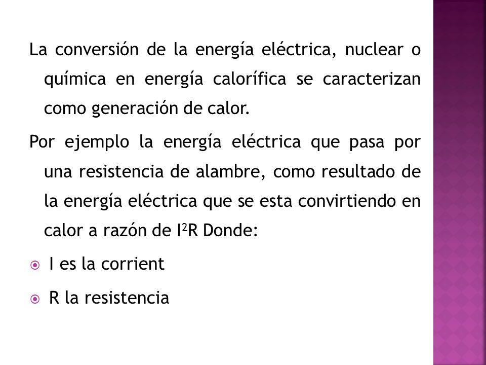La conversión de la energía eléctrica, nuclear o química en energía calorífica se caracterizan como generación de calor.