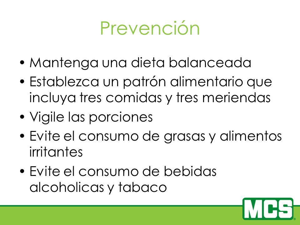 Prevención Mantenga una dieta balanceada