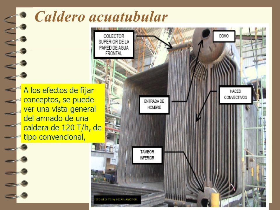 Caldero acuatubularA los efectos de fijar conceptos, se puede ver una vista general del armado de una caldera de 120 T/h, de tipo convencional,