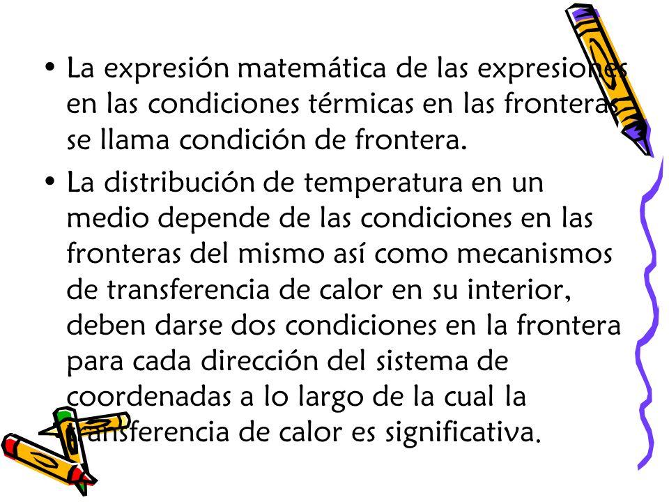 La expresión matemática de las expresiones en las condiciones térmicas en las fronteras se llama condición de frontera.