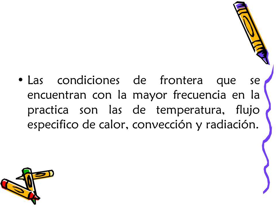 Las condiciones de frontera que se encuentran con la mayor frecuencia en la practica son las de temperatura, flujo especifico de calor, convección y radiación.