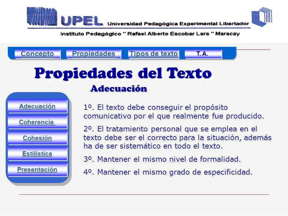 Propiedades del Texto Adecuación Concepto Propiedades Tipos de texto