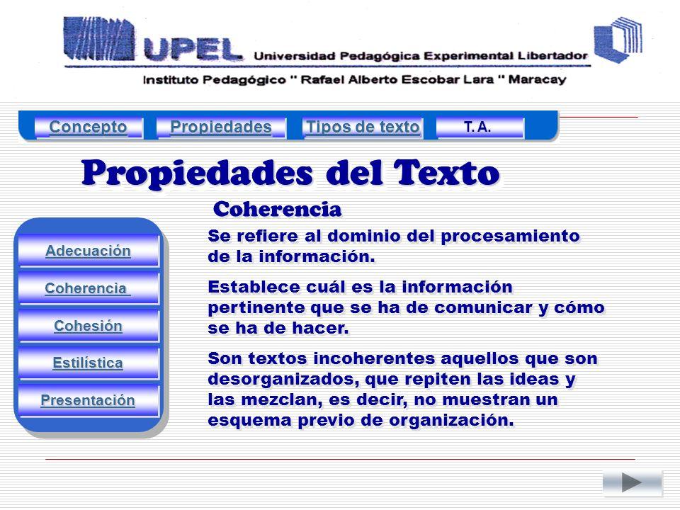 Propiedades del Texto Coherencia Concepto Propiedades Tipos de texto