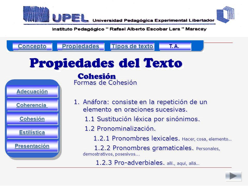 Propiedades del Texto Cohesión Concepto Propiedades Tipos de texto