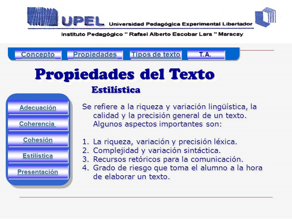 Propiedades del Texto Estilística Concepto Propiedades Tipos de texto