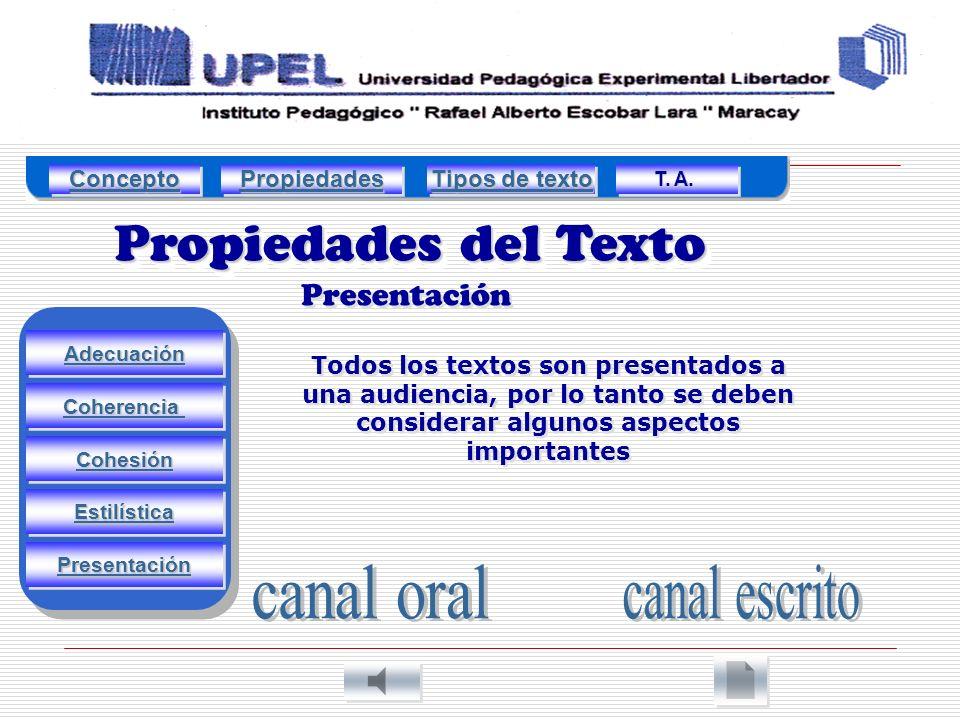 Propiedades del Texto canal oral canal escrito Presentación Concepto