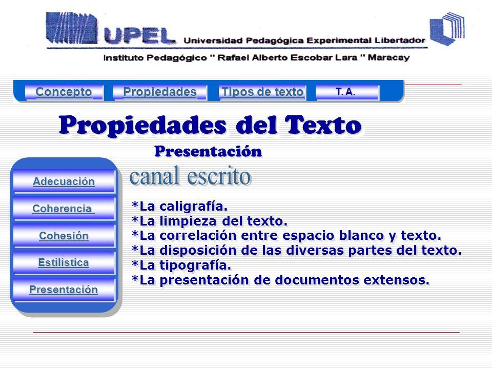 Propiedades del Texto canal escrito Presentación Concepto Propiedades
