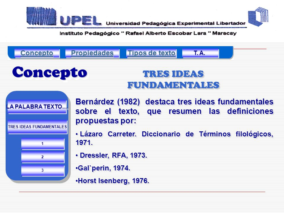TRES IDEAS FUNDAMENTALES