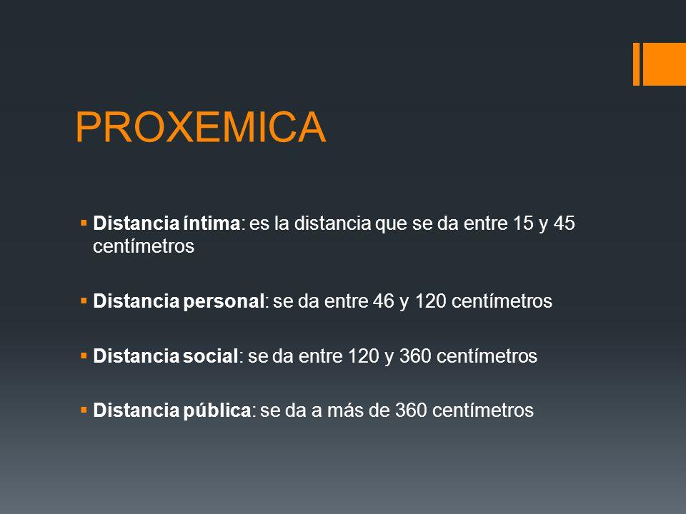 PROXEMICA Distancia íntima: es la distancia que se da entre 15 y 45 centímetros. Distancia personal: se da entre 46 y 120 centímetros.