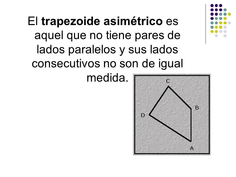 El trapezoide asimétrico es aquel que no tiene pares de lados paralelos y sus lados consecutivos no son de igual medida.