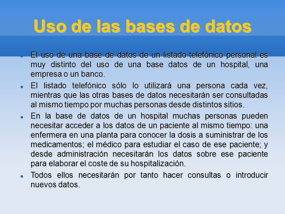 Uso de las bases de datos