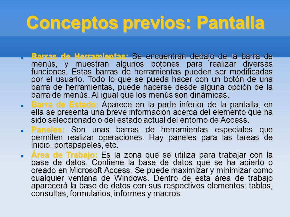 Conceptos previos: Pantalla