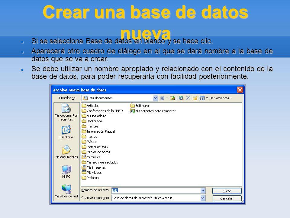 Crear una base de datos nueva