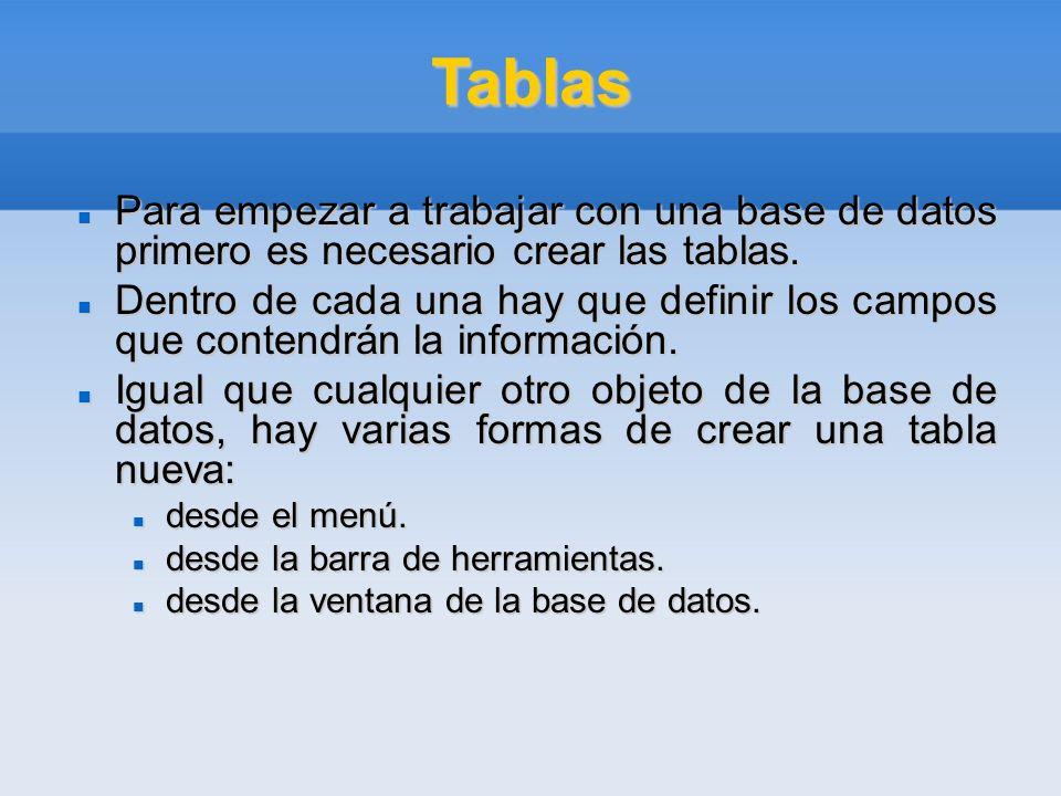 Tablas Para empezar a trabajar con una base de datos primero es necesario crear las tablas.