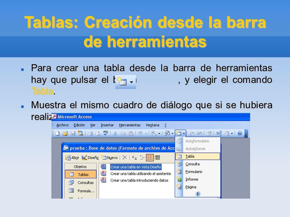 Tablas: Creación desde la barra de herramientas