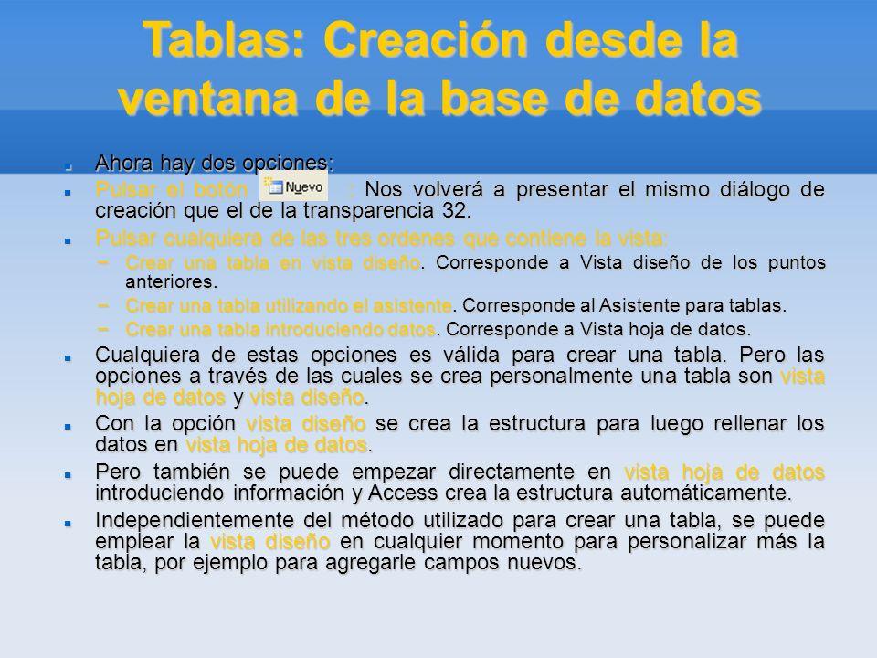 Tablas: Creación desde la ventana de la base de datos