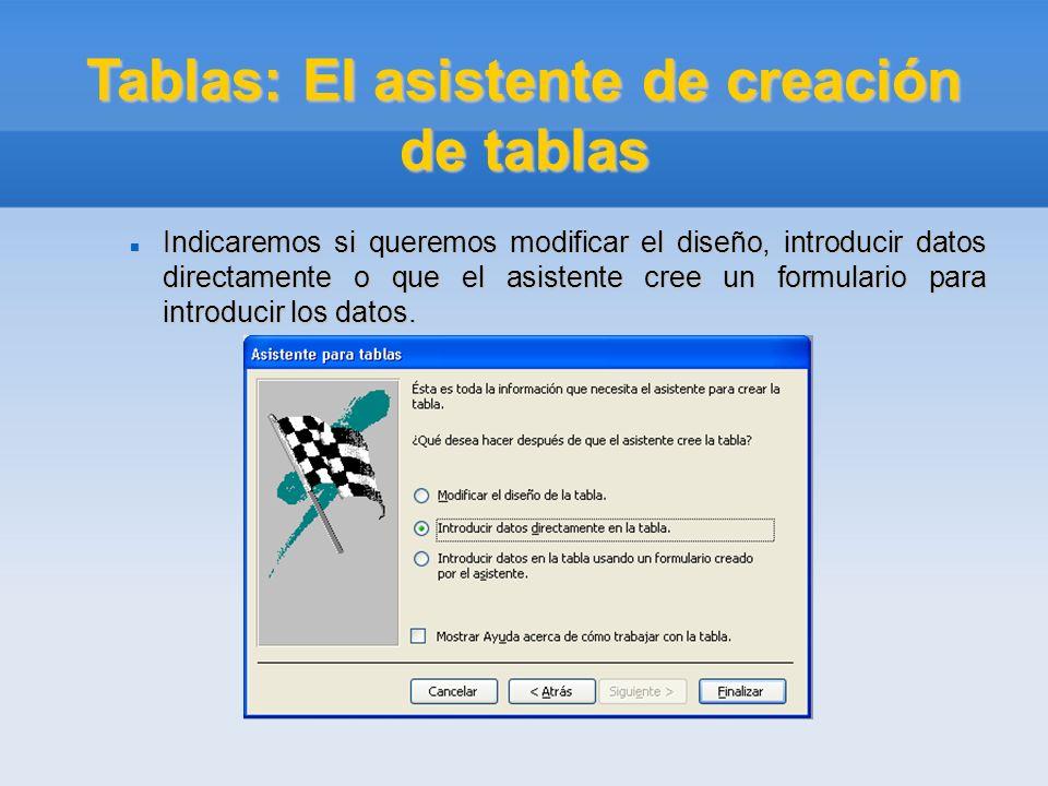 Tablas: El asistente de creación de tablas