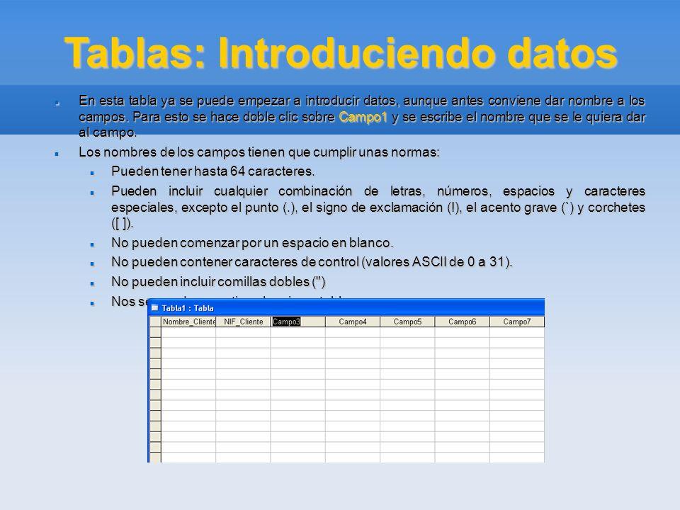 Tablas: Introduciendo datos