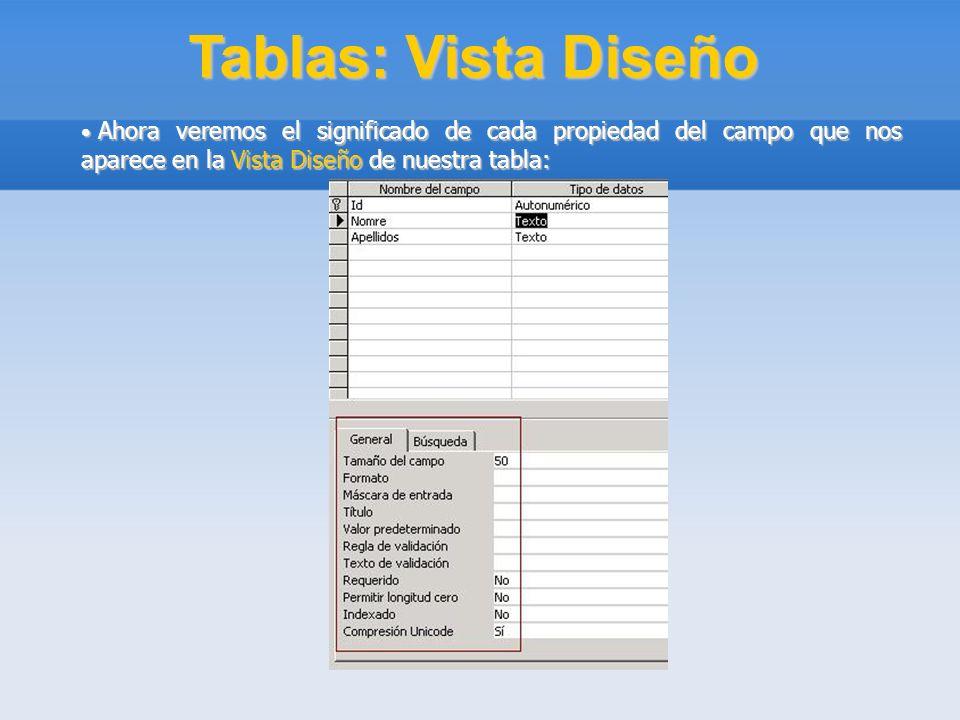 Tablas: Vista Diseño Ahora veremos el significado de cada propiedad del campo que nos aparece en la Vista Diseño de nuestra tabla: