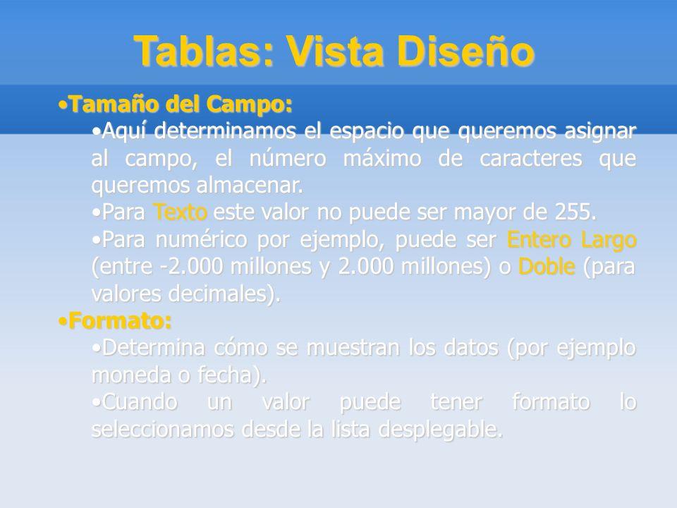 Tablas: Vista Diseño Tamaño del Campo:
