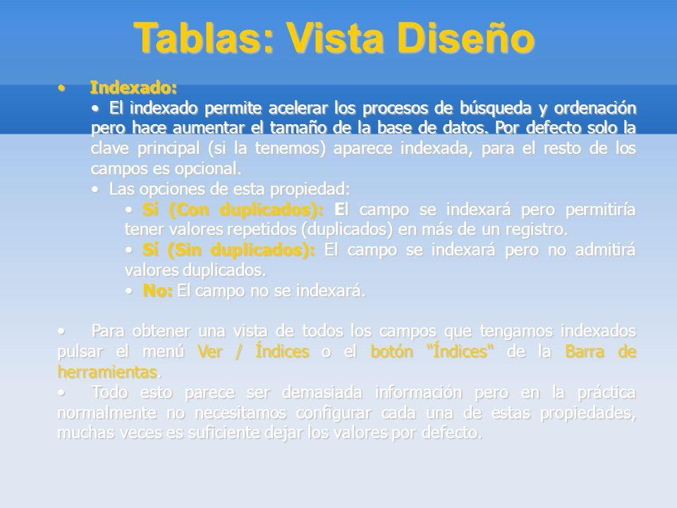 Tablas: Vista Diseño Indexado: