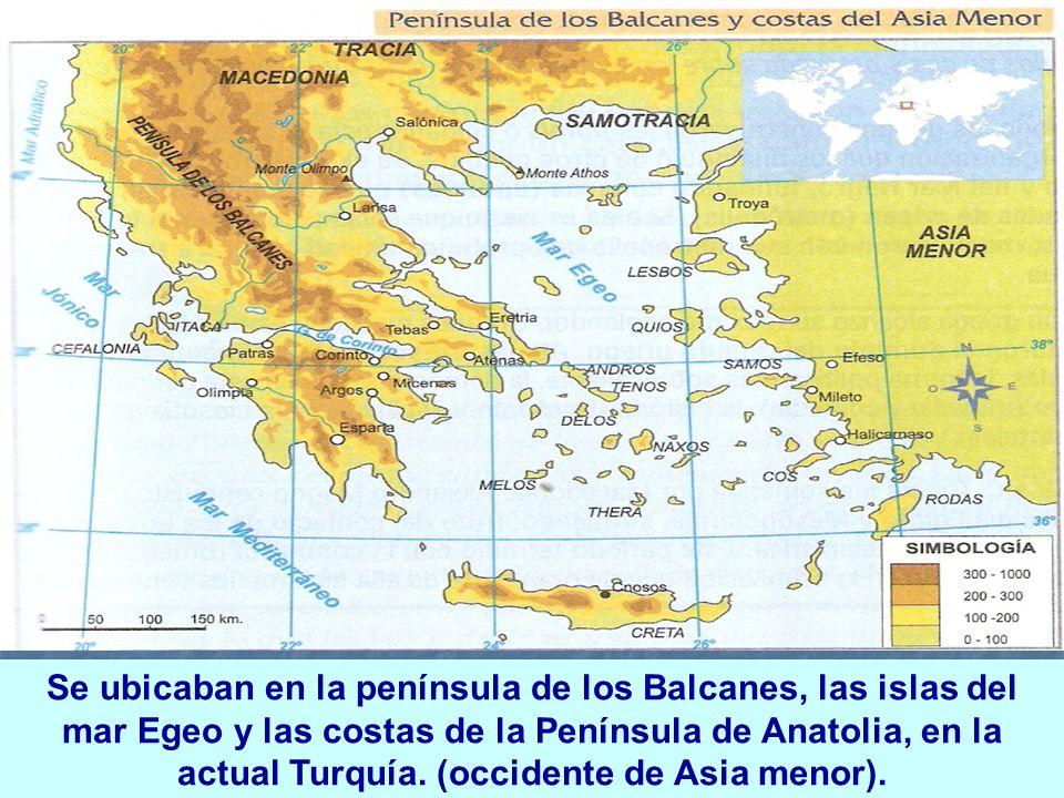 Se ubicaban en la península de los Balcanes, las islas del mar Egeo y las costas de la Península de Anatolia, en la actual Turquía.