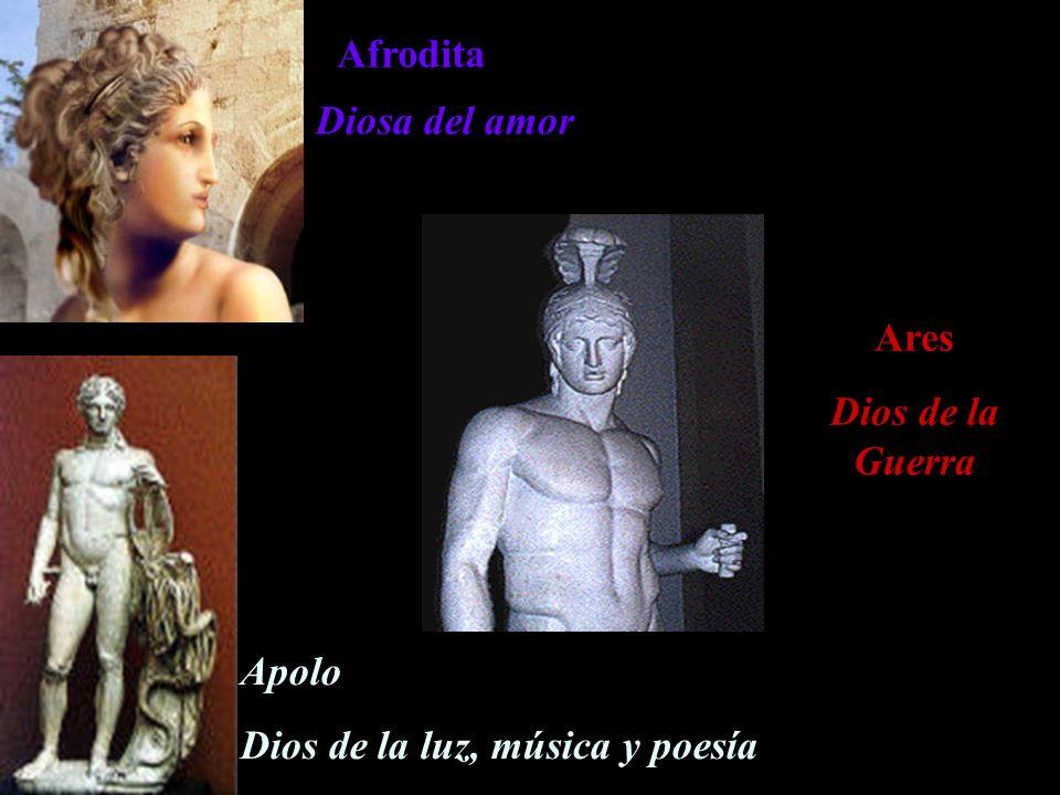 Afrodita Diosa del amor Ares Dios de la Guerra Apolo Dios de la luz, música y poesía